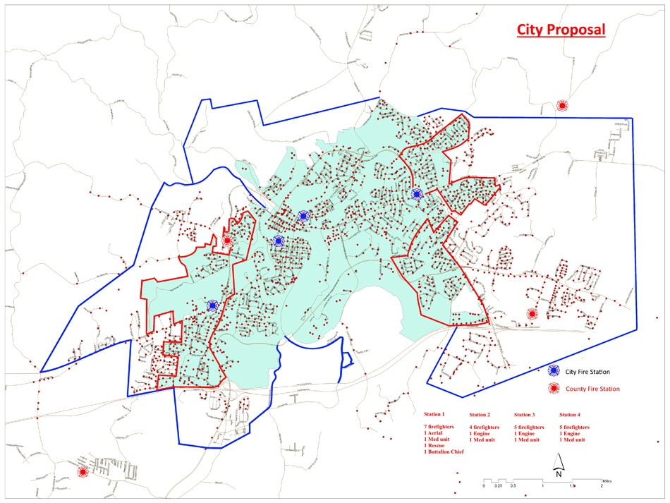 City Proposal Map of Frankfort and surrounding city and county fire stations