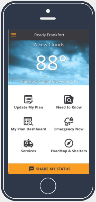 Image of a cell phone with the Ready Frankfort App on screen