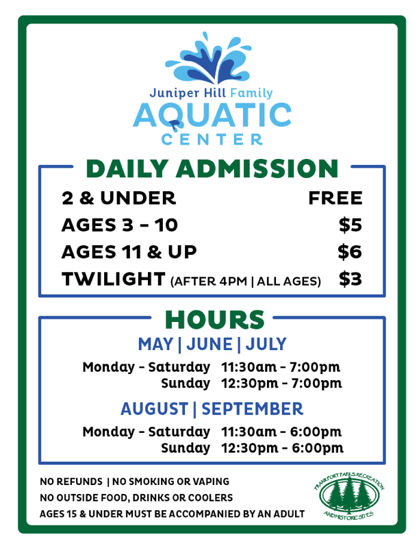 A listing of Aquatic Center fees, hours, and rules