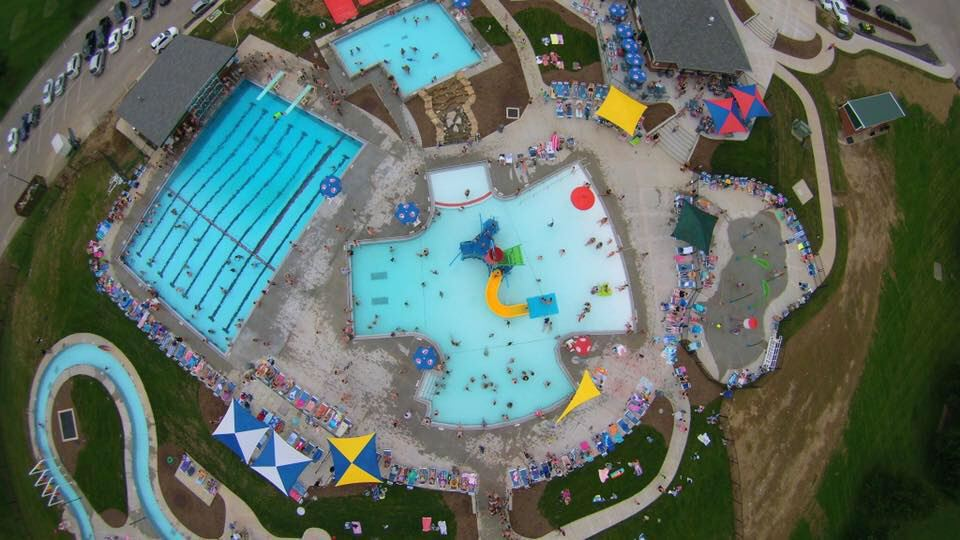 An aerial photo of the Aquatic Center